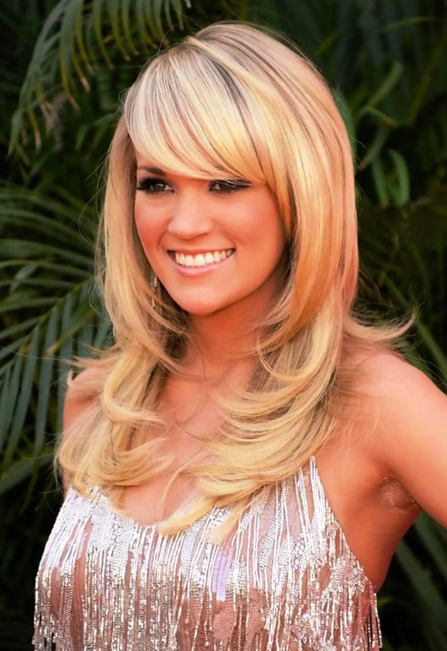 Carrie Underwood's Look with Long Bangs
