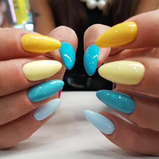 Pointy Yellow and Blue Acrylic Nails