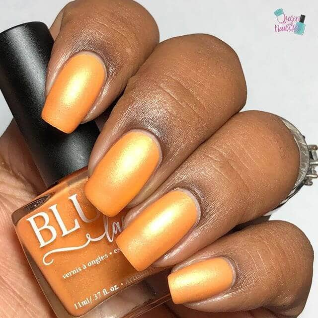 Matte Orange Gold Nails with Square Cut