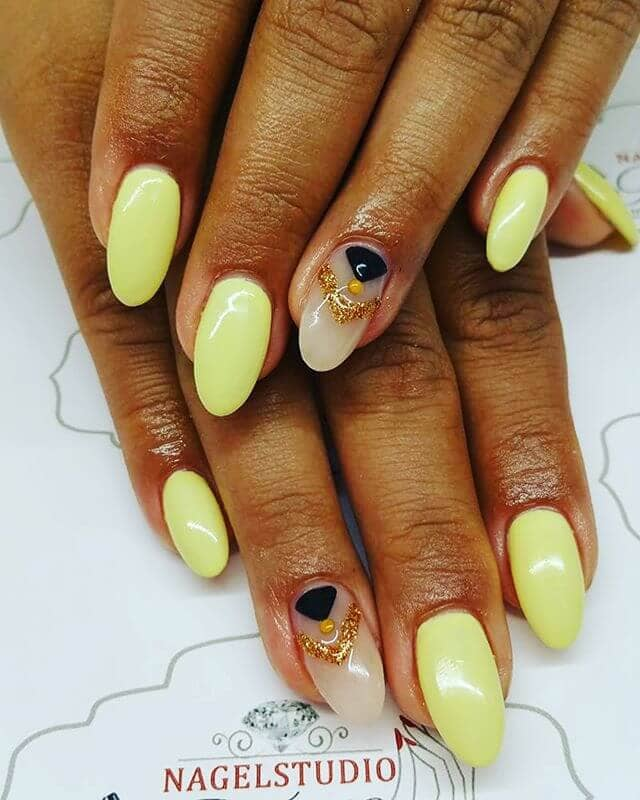 Lemon Lime Acrylics with Geometric Accents