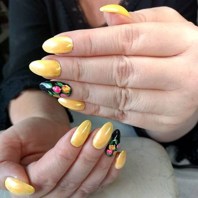 Elegant Golden Yellow with Aquatic Details