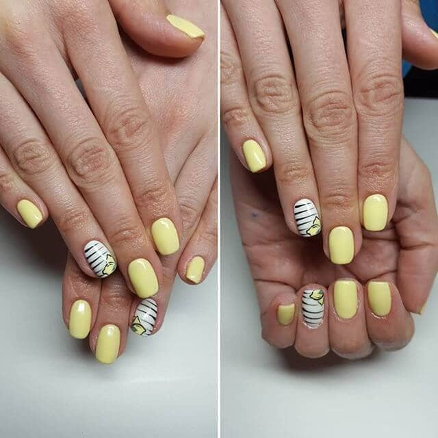 Lemon Colored Nails with Fruit Accents