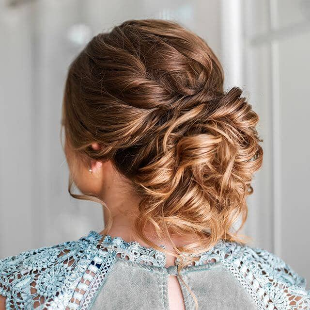 Finger-Combed Twists Wrapped Into Curly Bun
