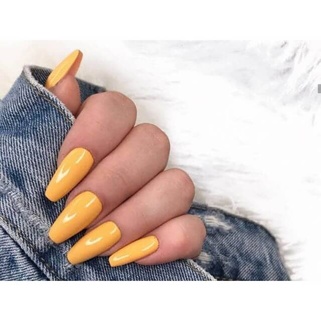 Easy Long Yellow Acrylic Nails