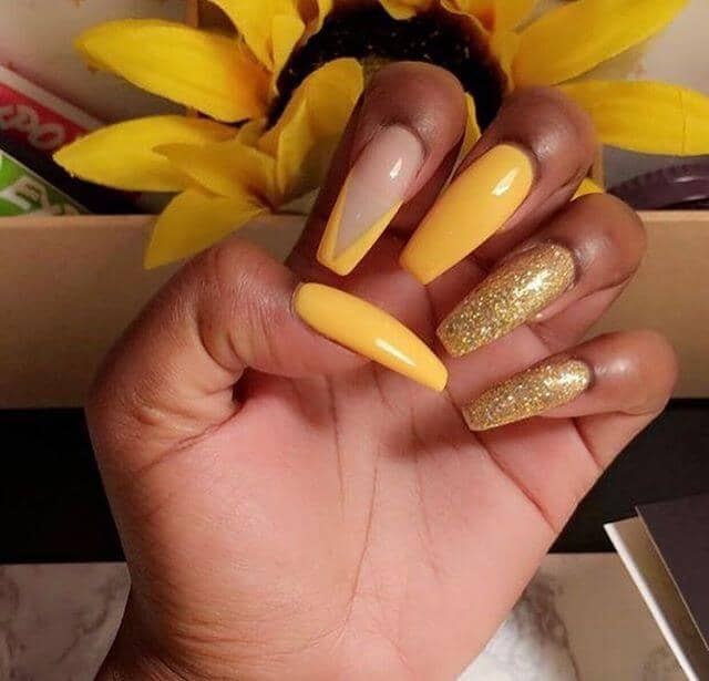 Sweet and Sassy Yellow Coffin Nails