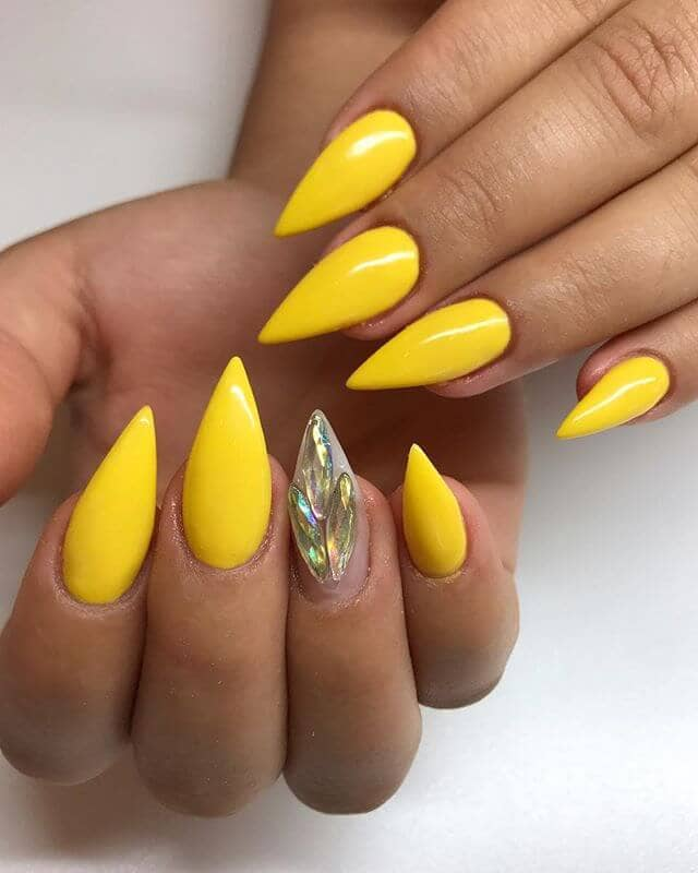 Bright Yellow Peacock Stiletto Nails