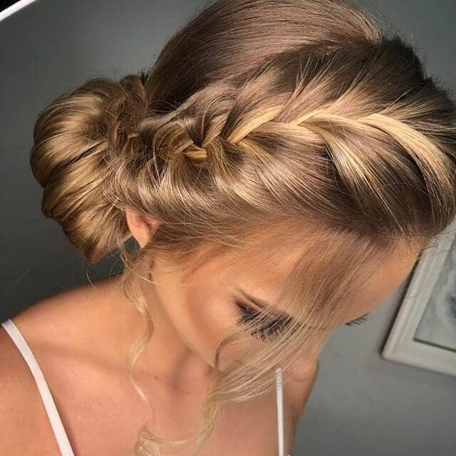 Pretty French Braid Bangs And Low Side Bun
