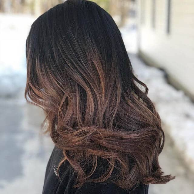 Long Layered Brunette with Dark Auburn Streaks
