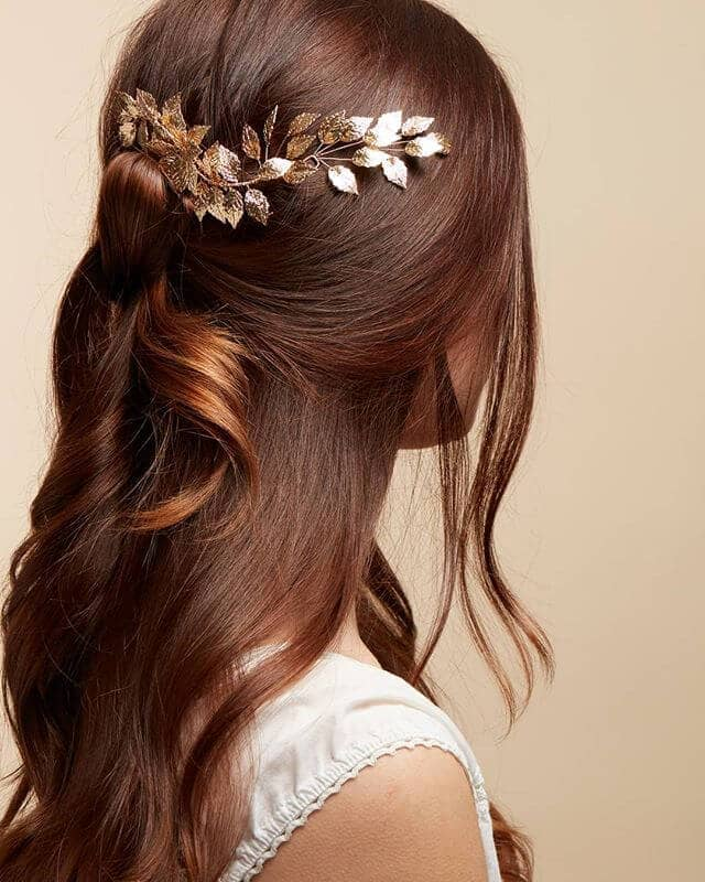 Roman Jewel Crown With Gentle Half-Up Curls