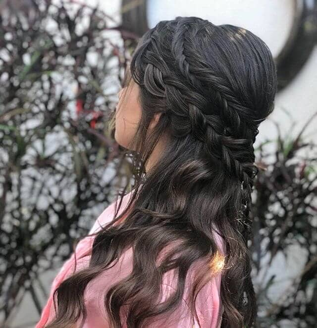 Princess Braids Beneath Pompadour And Curls