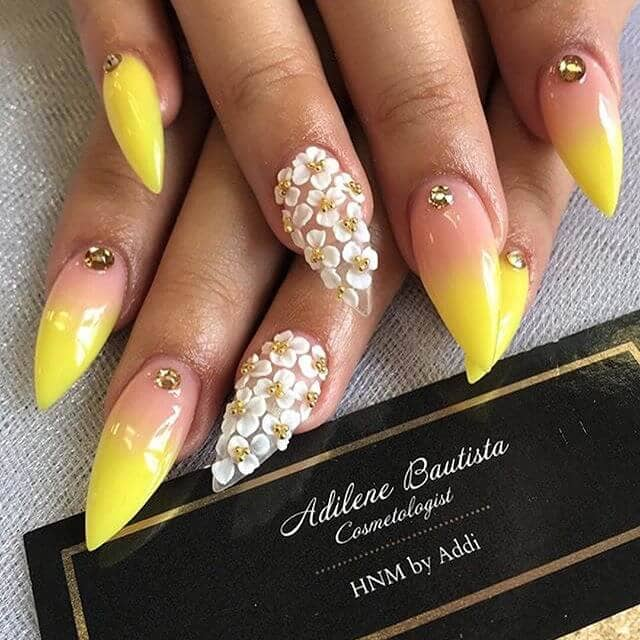 Flower Jeweled Stilettos in Pink and Yellow