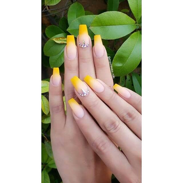 Formal Ombre Yellow Acrylic Nails