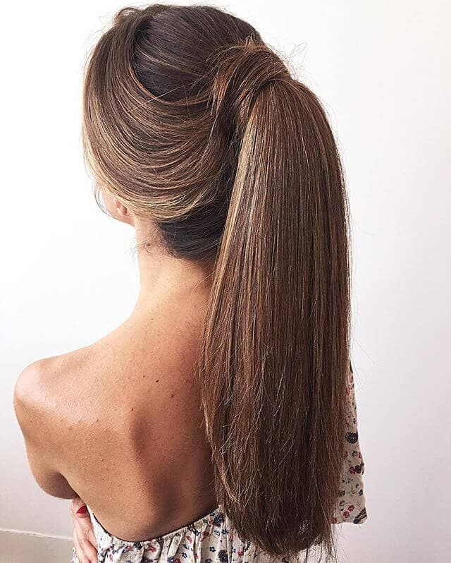 Elegantly Sweeping Wrap-Around Ponytail Style