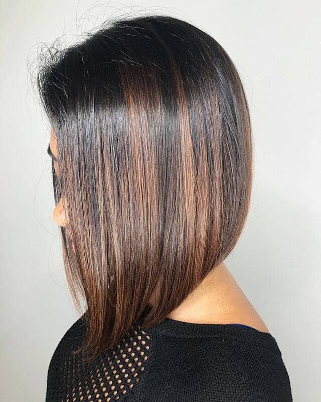 Multi-tonal Long Brunette Bob