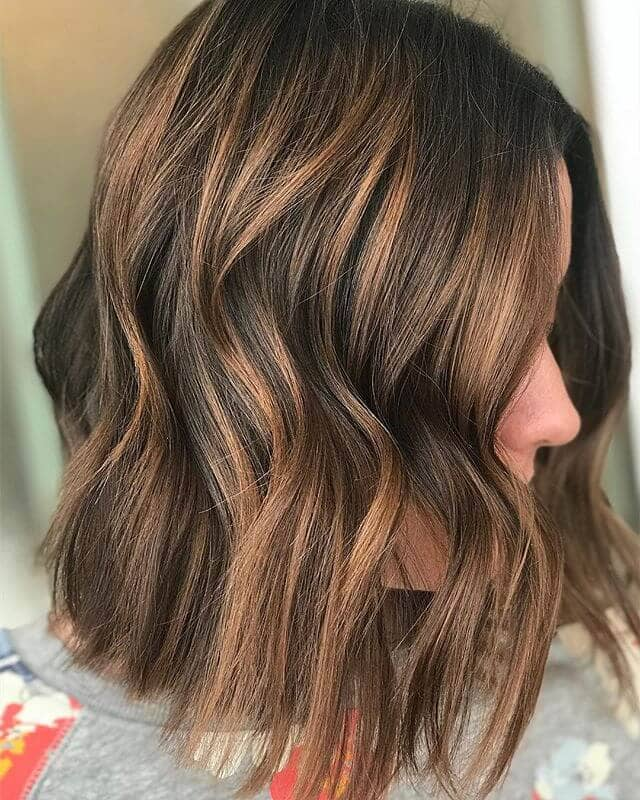 Light Brown Bob with Crimson Highlights