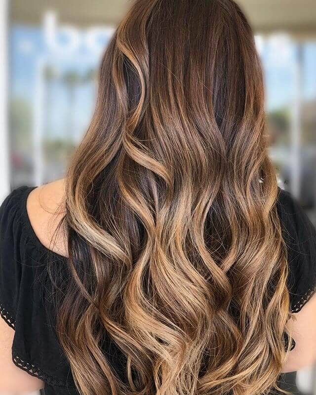 Caramel Hair Color with Blonde Curls