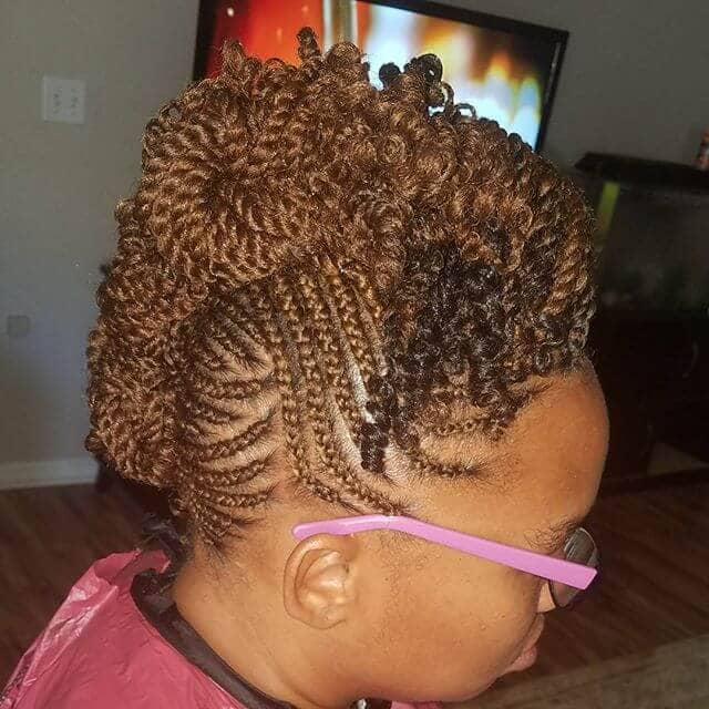 Braided Kinky Twist Updo with Cornrows