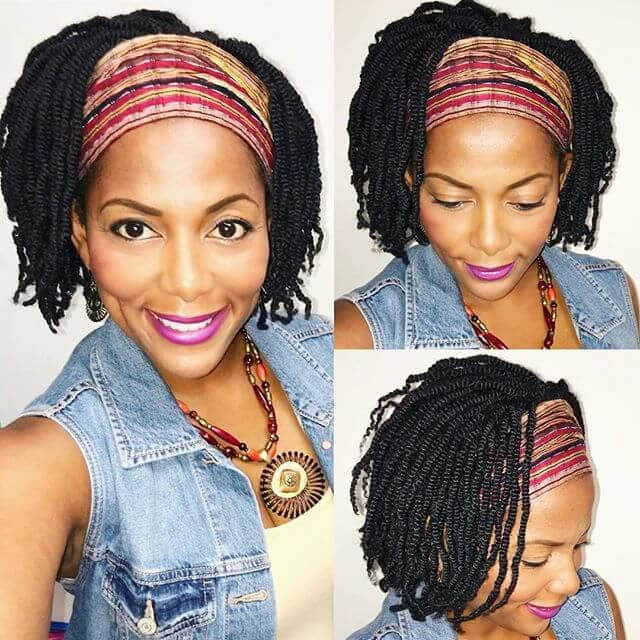Mini Twisted Bob with Natural Hair