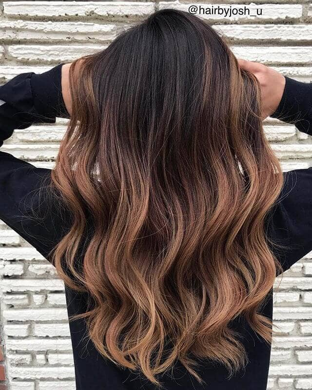 Brown Balayage with Flat Waves