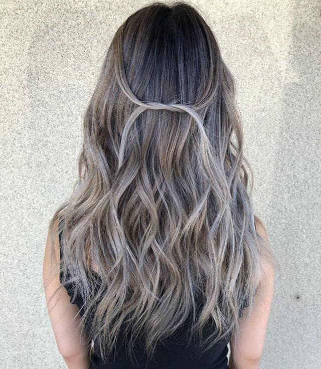 Grey Blond Long Curls With Tied Accent
