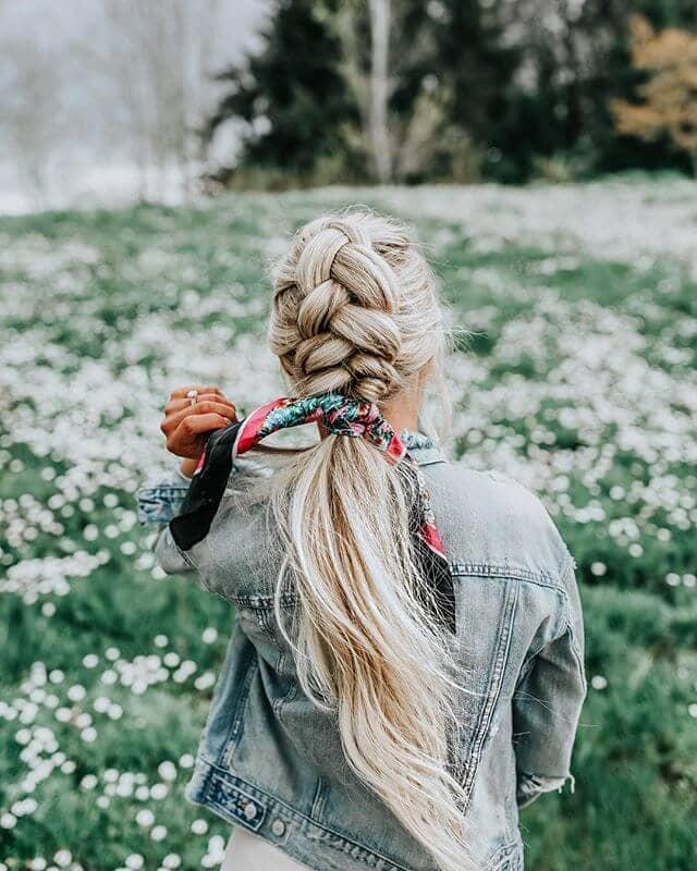 corn braid ponytail with silk bandana tied