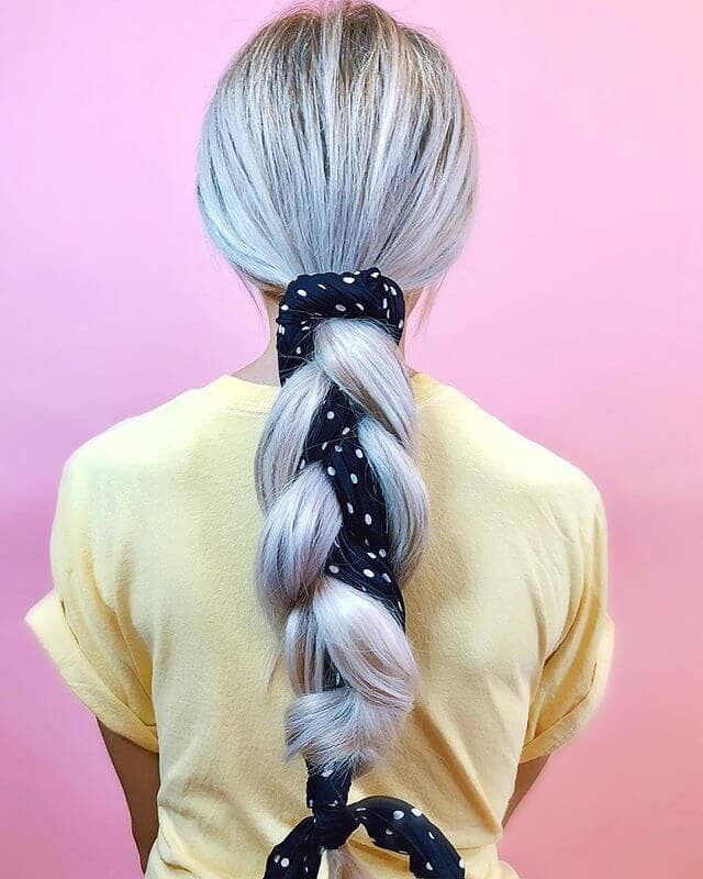 Pretty Ribbon Bound Ponytail Plait