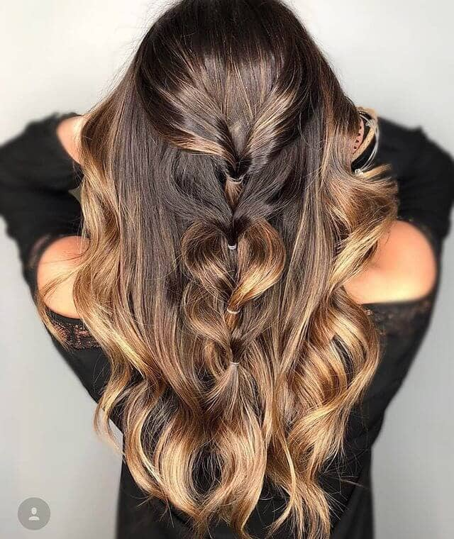 Caramel Tips with Half-up Messy Fishtail