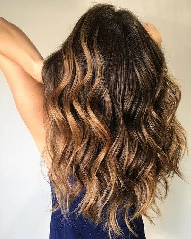 Luscious Brown Waves with Volumized Crown