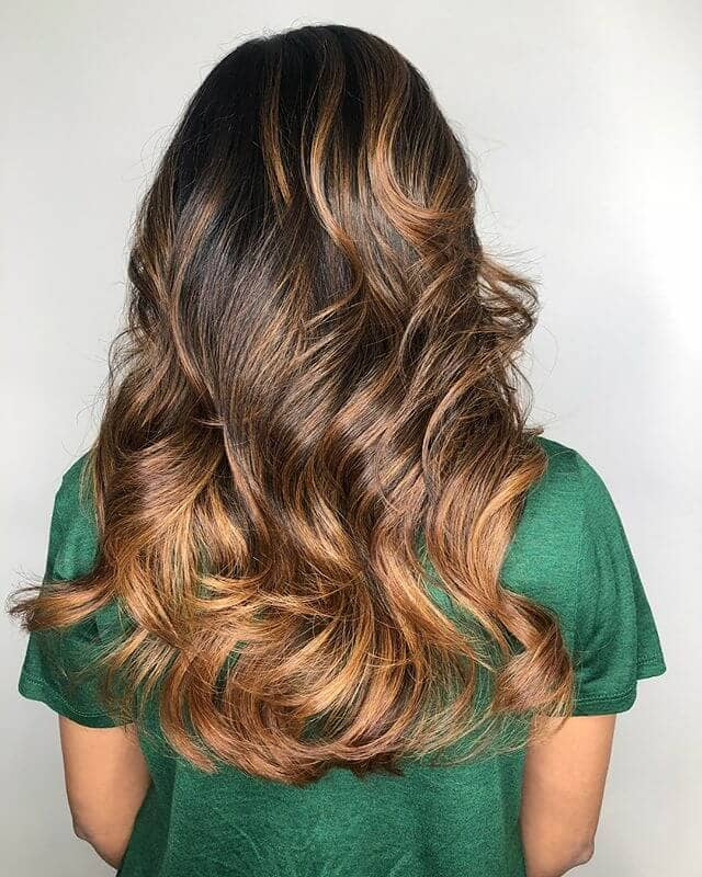 Deep Caramel Tips with Blonde Waves