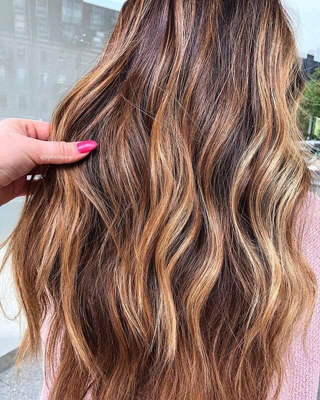 Honey Blonde Waves with Multicolored Highlights