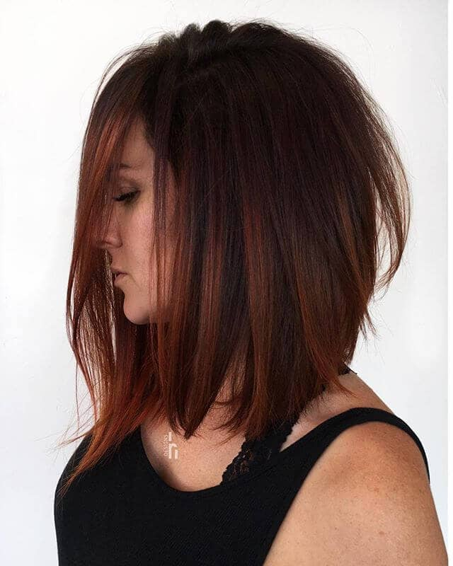 Striking Chestnut Textured Bob Style