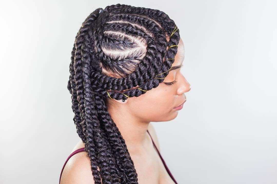 Cornrows with Side Swept Chunky Twists