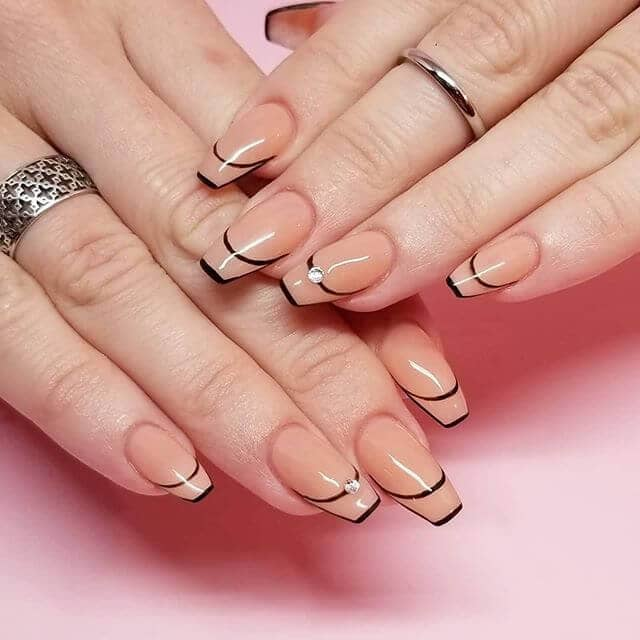 Rosy Pink Nude Nails with Black Accents
