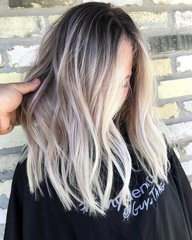 Long Bob with Frosted Blonde Highlights