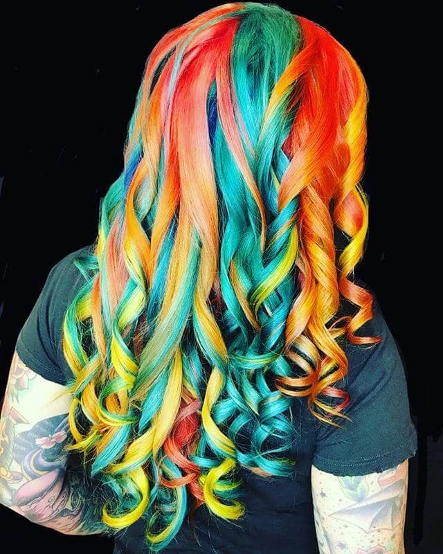 Spiral Curls in Vibrant Neon Rainbow Streaks
