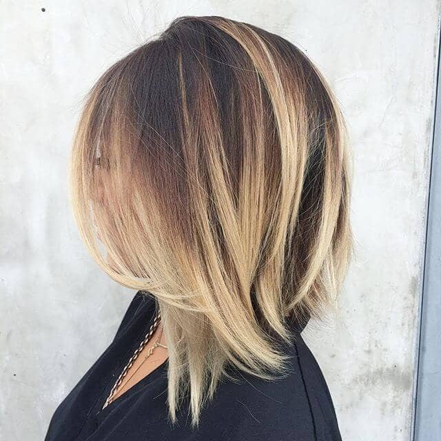 Side Swept Long Bob with Balayage Highlights