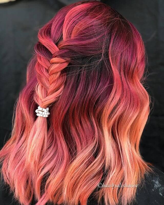 Rich Red-to-Pink Bayalage Bejeweled Braid