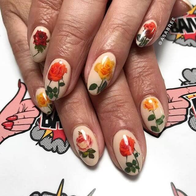 Floral Fantasy Simple Nail Polish Design