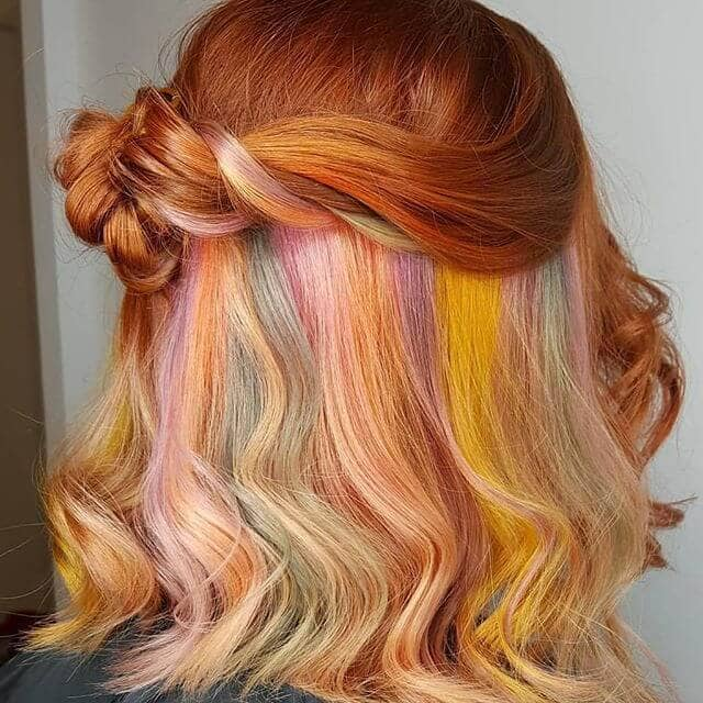 Romantic Pastel Sunburst with Blue Streaks