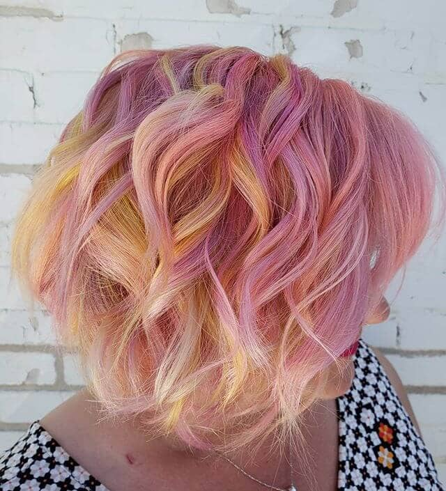 Sunset Hued Short Pink Hair