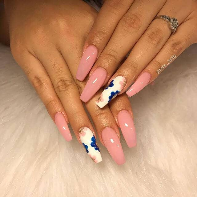 Smooth and Silky Blue and Pink Cute Nails
