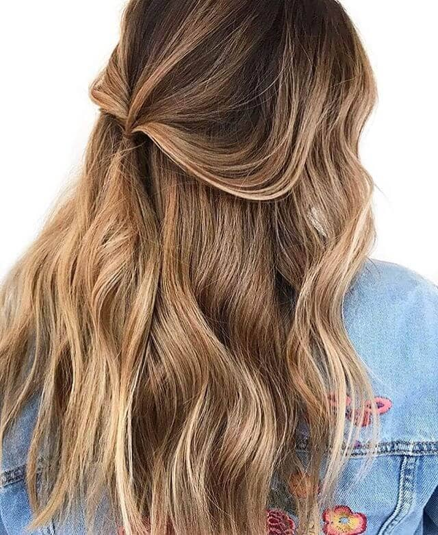 Pretty Golden Sombre Highlights in Long Brown Hair