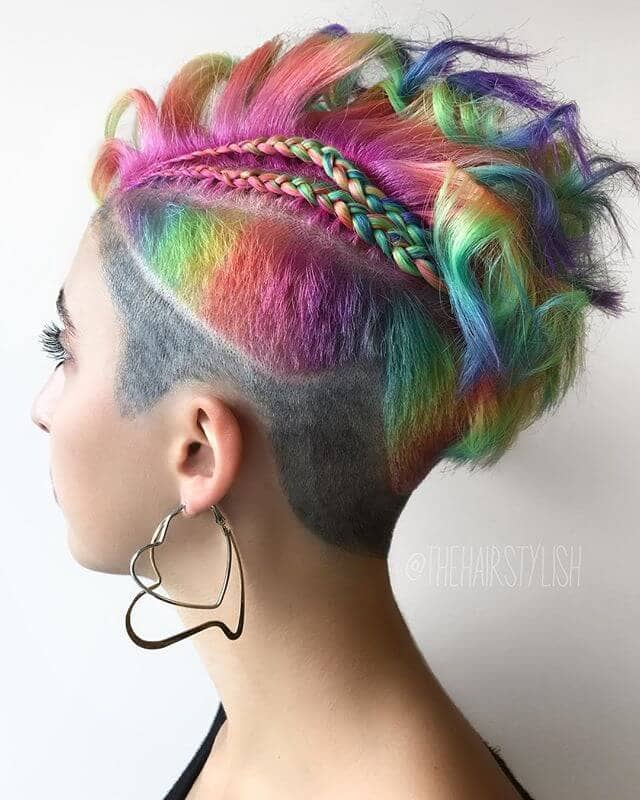 Braided Vibrant Faux-hawk and Rainbow Undercut