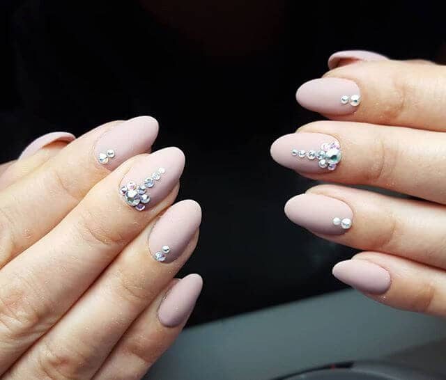 Pink Nude Nail Ideas with Rhinestones
