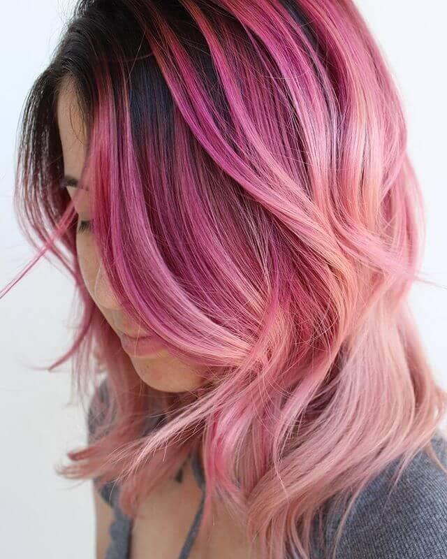 Taffy Tone Pink Balayage Hairstyle