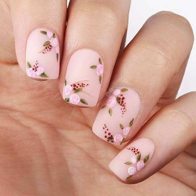 Roses with Matte Finish Beautiful Nail Design