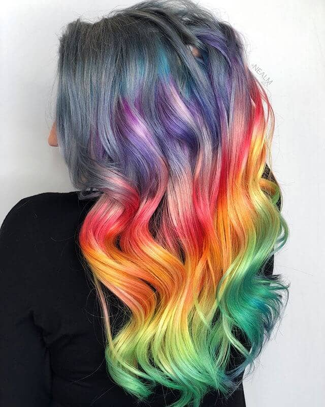 Stunning Long Curls with Full Rainbow Bayalage