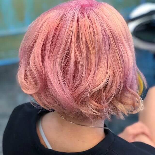 Curly Coral Short Pink Hair