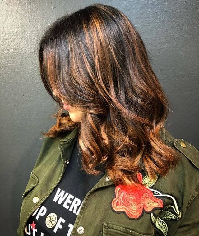 Awesome Chestnut Blonde Highlights in Dark Brown Hair