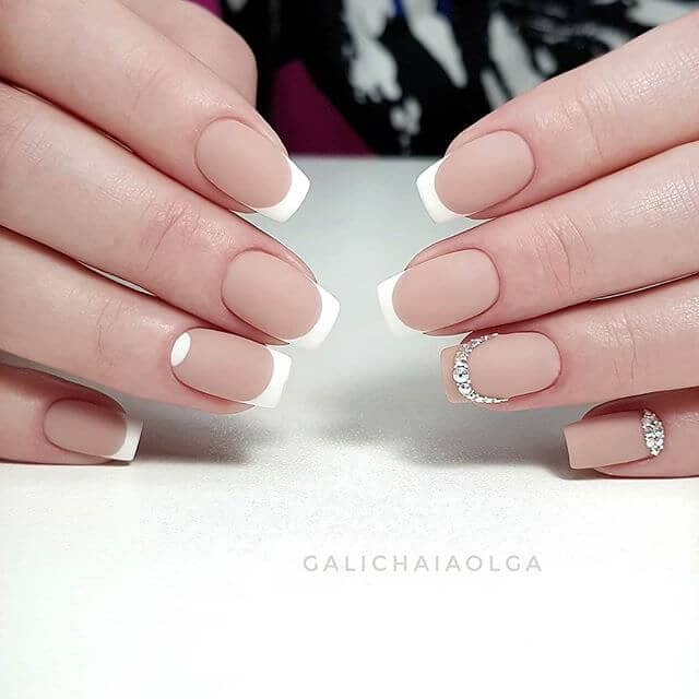 Gorgeous Diamond-Accented Matte French Manicure